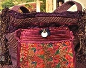 AMSTERDAM - upholstery tote, reversible, Boho, one of a kind--CUSTOM ORDER only