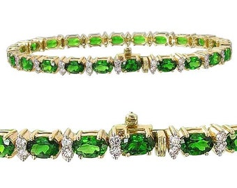 Tsavorite Green Garnet & Diamond Tennis Bracelet 18K YG 7 inches (15ct tw) : sku 1827-18K-Yg