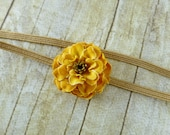 LAST ONE - Rustic Rose Elastic Headband, Mustard Yellow Rose