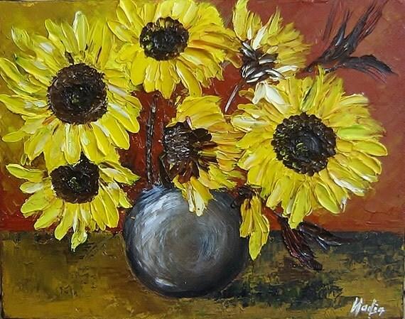 Sunflowers Modern Original Oil Painting Textured Art Palette Knife Yellow Flowers