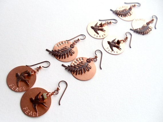 RESERVED FOR CATHLEEN // copper peace earrings // four pair
