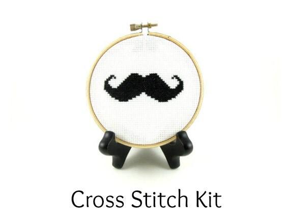Mr. Moustache Cross Stitch KIT