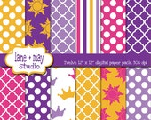digital scrapbook papers - purple and yellow tangled theme patterns - INSTANT DOWNLOAD