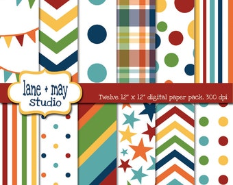 digital scrapbook papers - rainbow party patterns - INSTANT DOWNLOAD