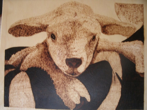 The Lord is my Shepherd, lamb on shoulder hand woodburn pyrography