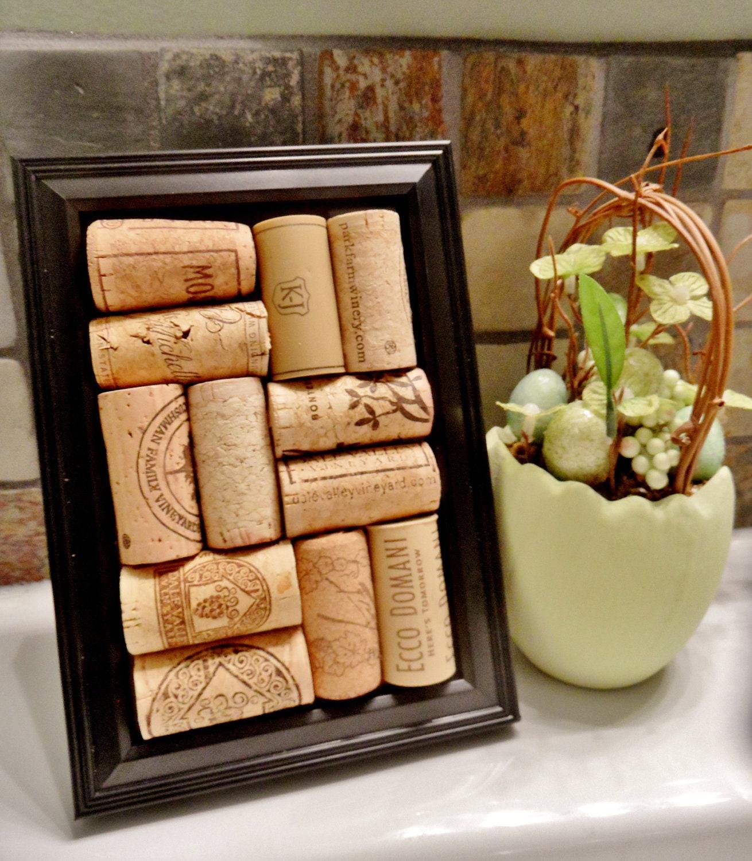 Wine Cork Art: Onyx Framed Wine Cork Decor / Corkboard By ScatteredTreasures