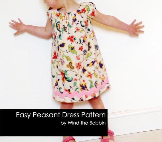 Peasant Dress Easy PDF Dress Pattern for Girls Age Newborn - 9 years