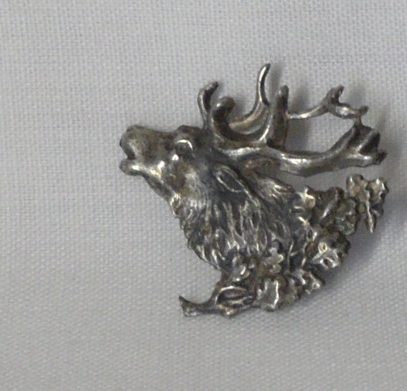 Sterling Silver Elks Head Profile Pin with Wreath Miniature Vintage Antique Jewelry