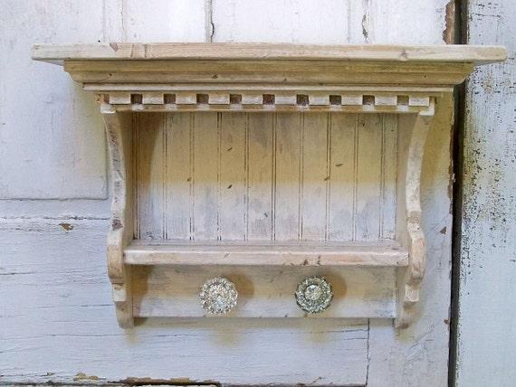 Reserved listing..Handmade farmhouse white distressed shelf shabby chic recycled wood wall decor Anita Spero
