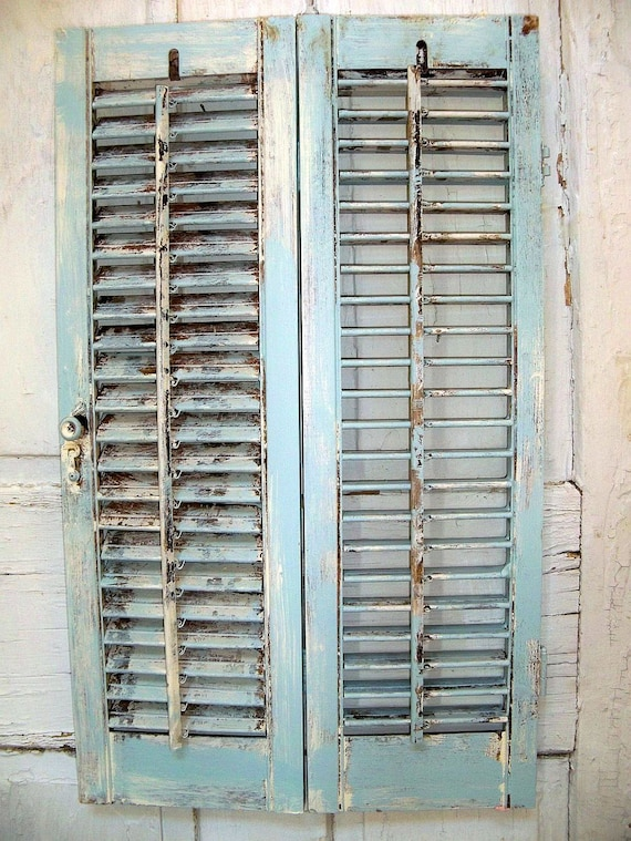 Distressed beach cottage wooden shutter French blue shabby chic wood decor Anita Spero