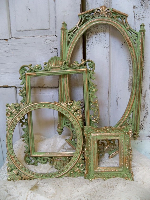 Ornate green frame grouping vintage hand painted shabby chic wall decor Anita Spero
