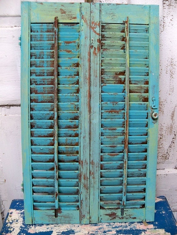 Vintage Wooden Distressed Shutter Caribbean Blue Distressed