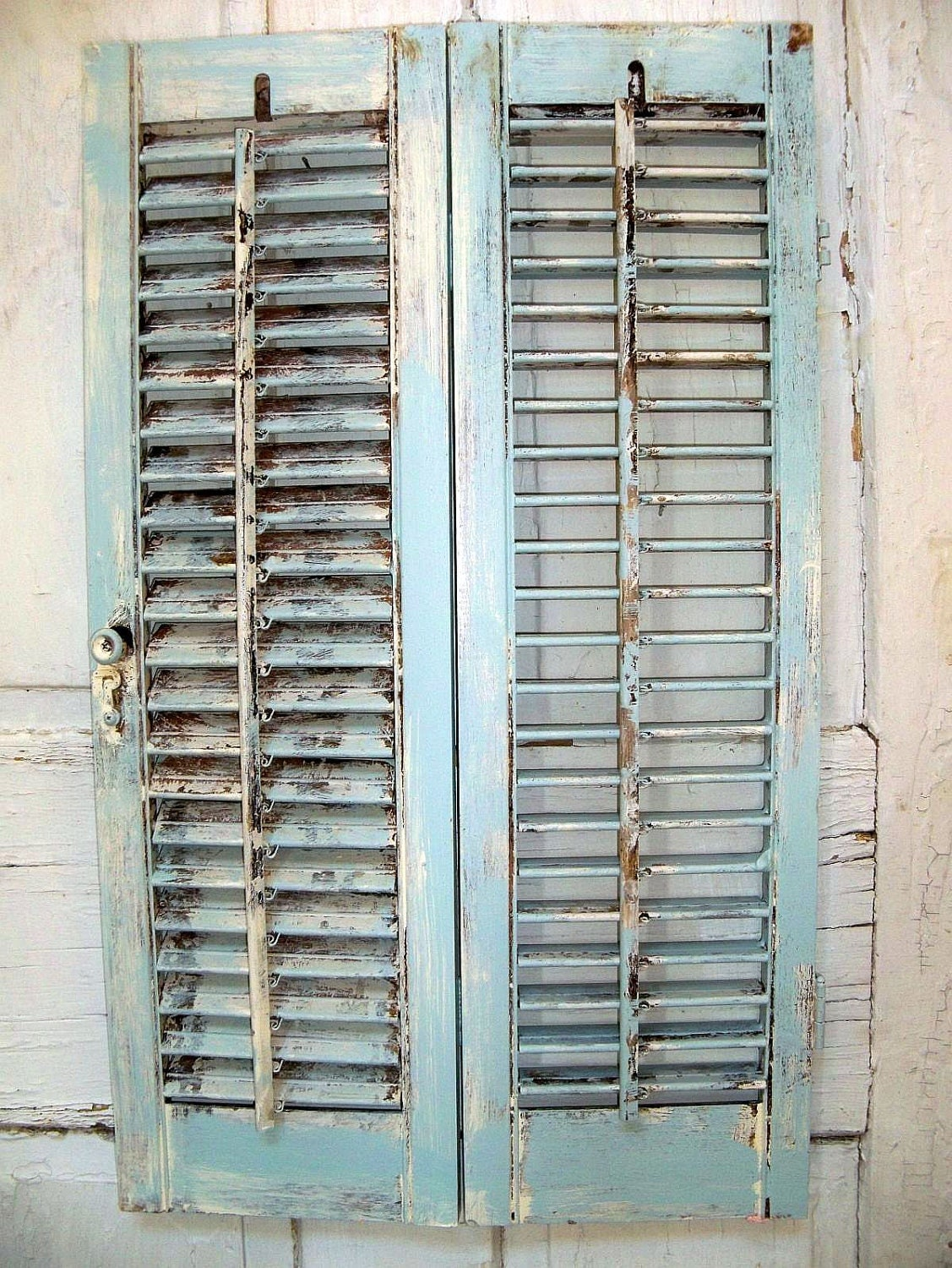 Distressed beach cottage wooden shutter french blue shabby for Beachy exterior shutters
