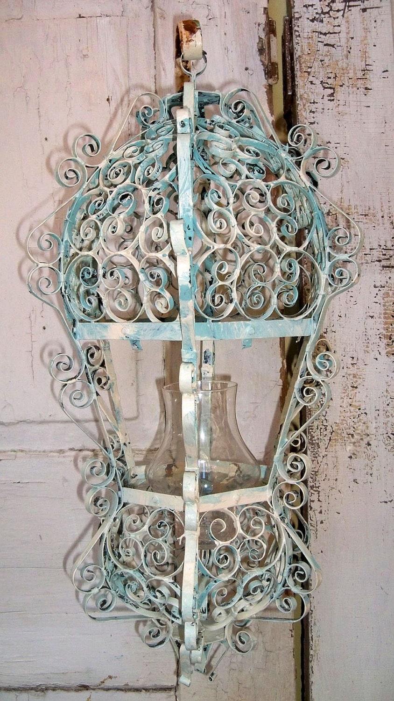 Large Ornate Lantern Vintage Candle Holder Metal Scroll Style