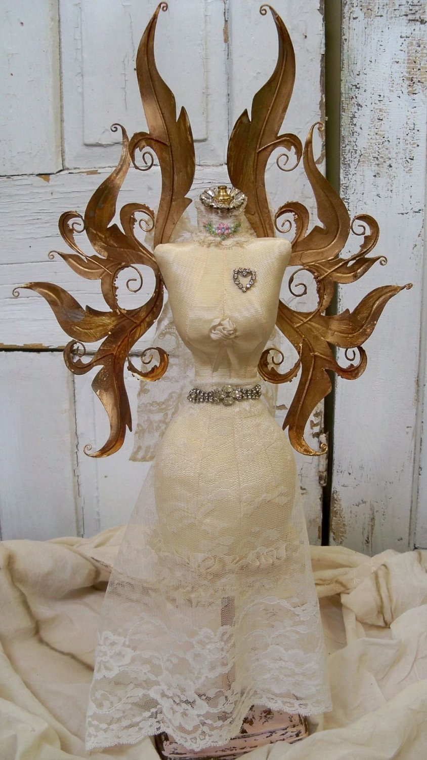 Shabby Chic Table Top Dress Form Rusty Ornate Angel Wings Home