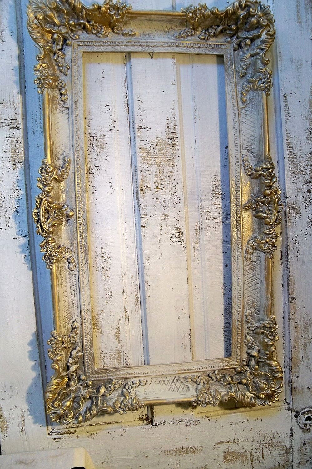 Large Gold Cream Full Face Adult Carnival Stick Mask: Large Vintage Frame Hand Painted Ornate French Farmhouse
