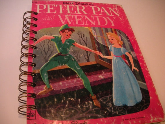 Reserved and Relisted for Vanessa Peter Pan and Wendy Little Golden Book Recycled Journal