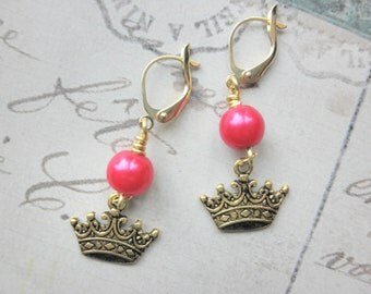 CLEARANCE 50% OFF Girls Hot Pink Pearl and Crown Princess Earrings