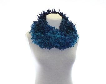 Hand-knitted scarf / Dark Blue and Turquoise / gifts for women / Ready To Ship / gift under 25