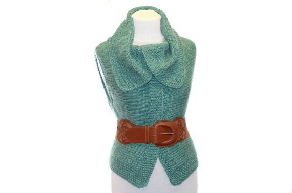 Knitted Waistcoat  Elegant / green mint / women waistcoat
