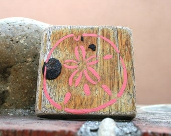 Pink Sand Dollar Driftwood Magnet (Made to Order)