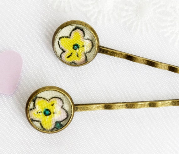 Reserved for Flaver - Tiny Bobby Pin Vintage flower Hair pin