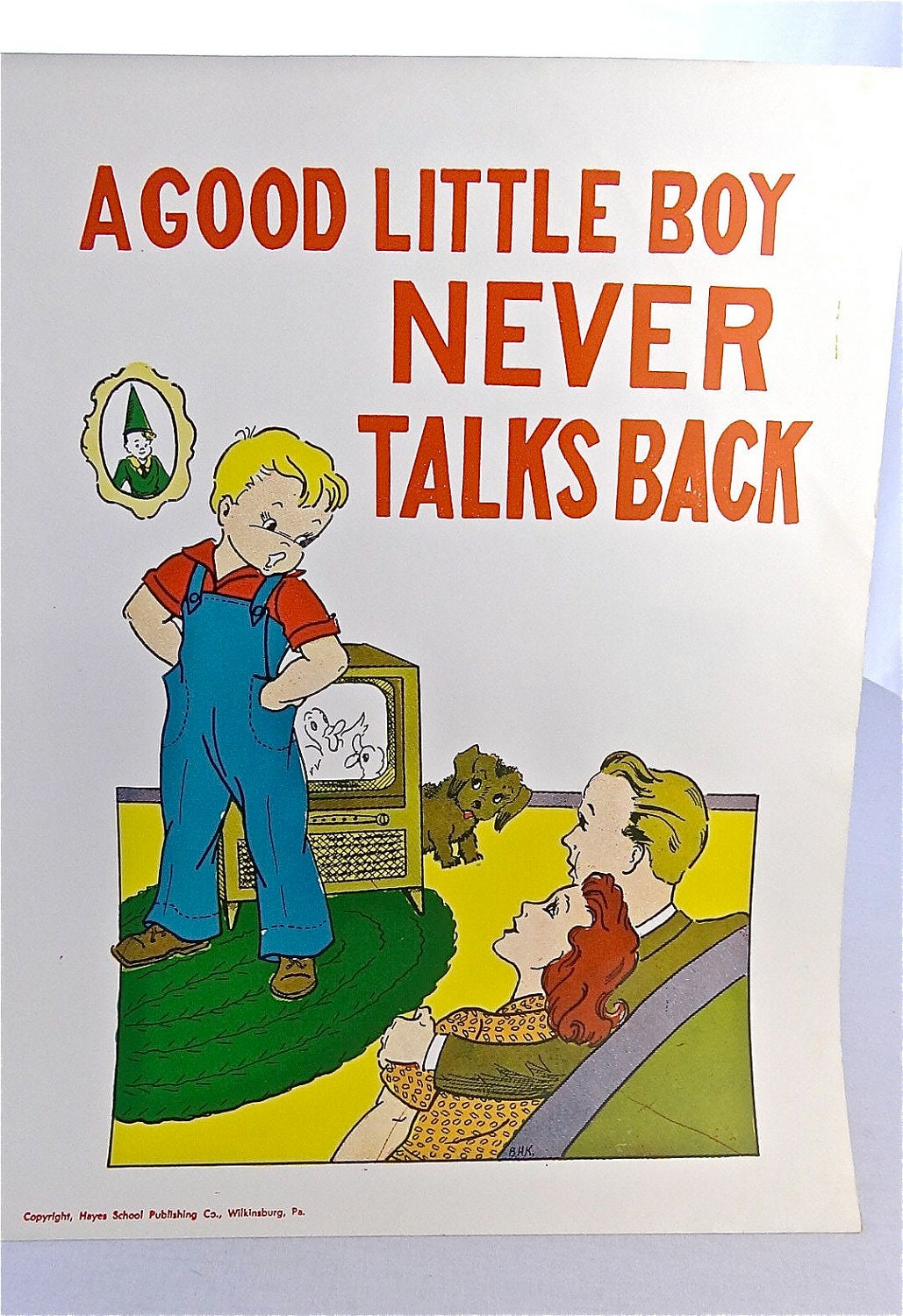 Vintage School Poster 1957 Educational Good Manners Poster-A