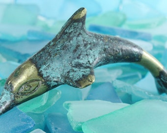 Solid Bronze Dolphin Porpoise Sculpture Ocean Sea Life - Flipper