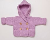 Hand Knit Hoodie Baby Jacket - 0-3 months