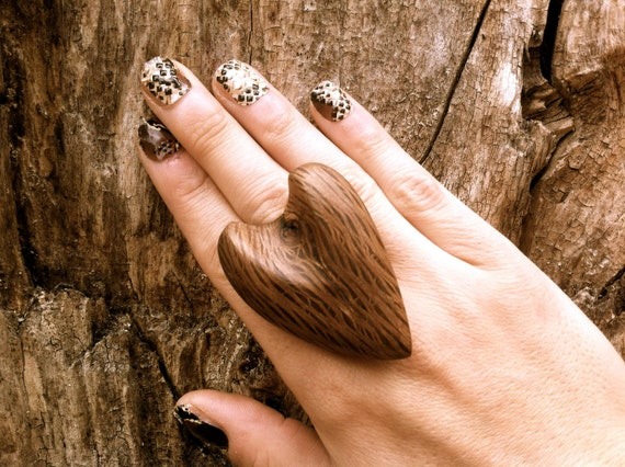 wooden big ring unique wood jewelry heart adjustable Eco friendly