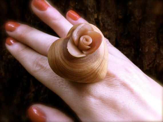 wooden big heart ring wood jewelry