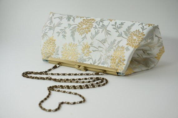 Ivory & Gold Bridal Clutch Purse - Evening/Bridesmaid/Formal Bag - Includes Crossbody Chain - Spring/Summer 2016 - Made to Order