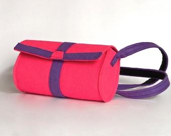 ColorBlock Mod Purse Geometric Felted Mini Crossbody Bag Neon Pink Bag Avant Gard Club Kid Fun Christmas Gift Idea Felted Purse Multicolor