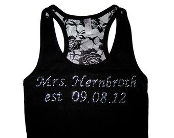 Personalized Rhinestone Tank Top, Personalized Wedding Gift, Bride Tank Top, Bride Shirt, Lace Tank Top, Wedding Gift, Engagement Gift, Tank
