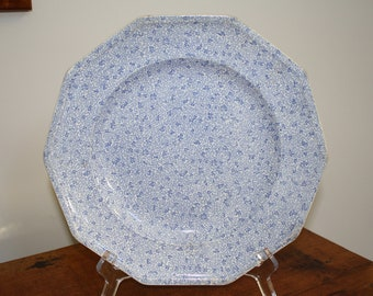 Sheet transferware plate Staffordshire England ten sided blue and white sprigs