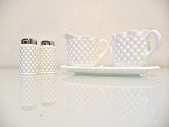 Fenton Hobnail Milk Glass S&P Shakers, Sugar and Cream, Dish Set