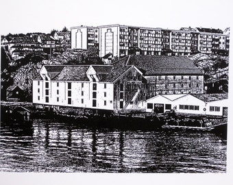 Norway - Kristiansund, Milnbrygga - limited edition screenprint