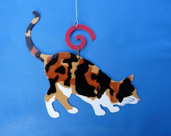 Metal Calico Cat Ornament