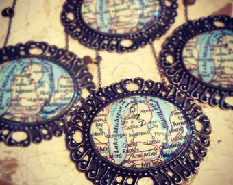 Large Michigan Map Necklace