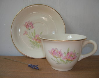Vintage Tulip Teacup and Saucer