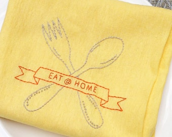 Eat at home hand embroidery pattern