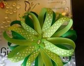 Pom, Emerald Green and Apple Green with Polka dots, Felt Flower, Hair Clip