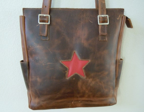 Vintage Distressed Brown Leather Tote Bag / Utility / Diaper Bag / XL size