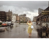 New Orleans 1959 Street Scene, Lady in Rain, Algiers Ferry Sign Vintage Photo 12x8 or 8x10