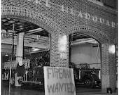 Fireman Wanted Sign at Station, 1966 Original Vintage Image 10x10