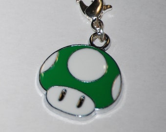 Mario Mushroom Enamel Clip 5 colors to choose from, zipper pull, backpack, cell phone, purse clip, bracelet, necklace or scrapbooking.