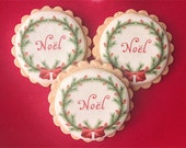 Noël Christmas Wreath Wafer Papers for Cookies - Edible Images