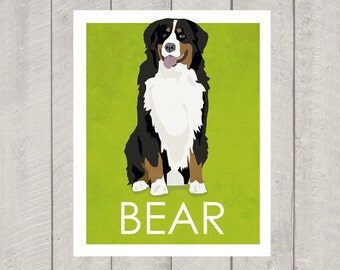 Bernese Mountain Dog Art Print - Custom Dog Art