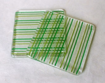 Green Pinstripe Fused Glass Coasters - Pair