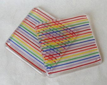 Rainbow Pinstripe Fused Glass Coasters - Pair